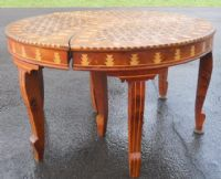 Inlaid Walnut Three Section Coffee Table
